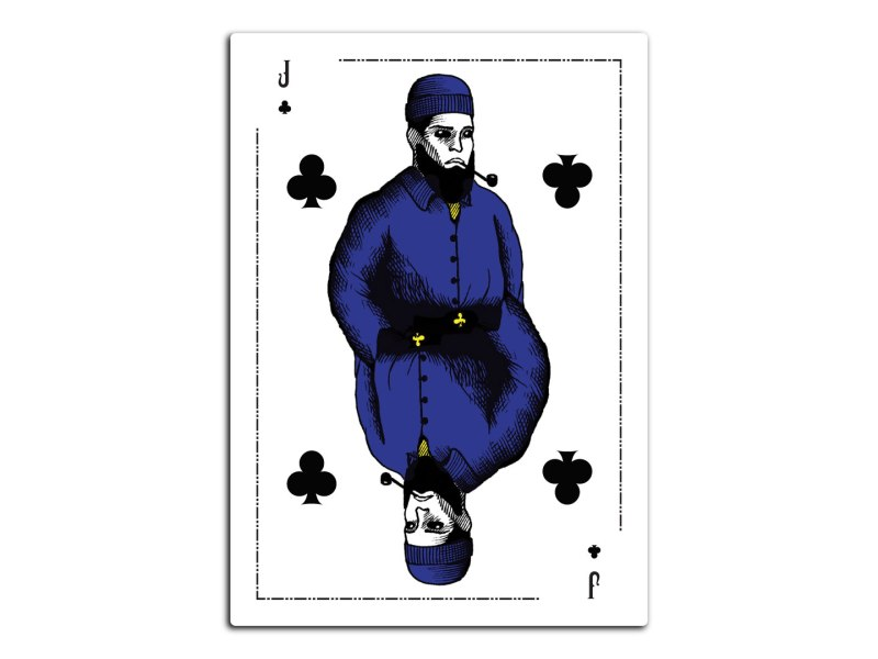 A poker card design featuring a pen and ink illustration of a jack dressed up as a sailor.