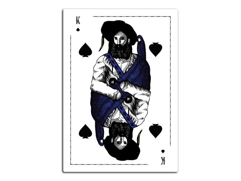 A poker card design featuring a pen and ink illustration of a king dressed up as a pirate captain.